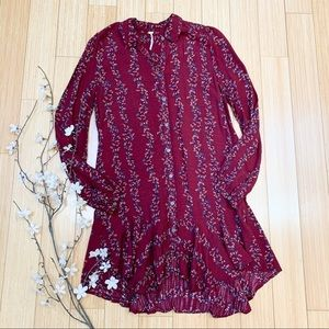 FREE PEOPLE maroon floral shirtdress, S.